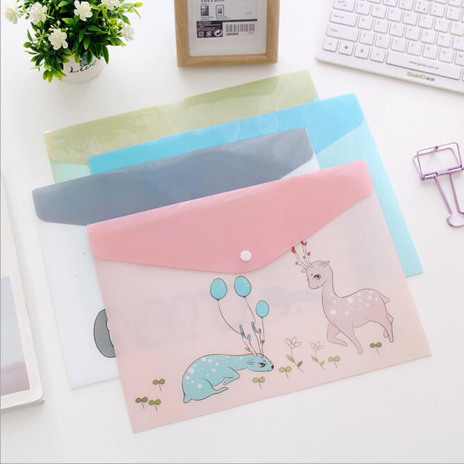 1PC Waterproof Multi Pocket Plastic Kawaii A4 File Folder Bag Document Paper Organizer Case Office School Stationery Supplies