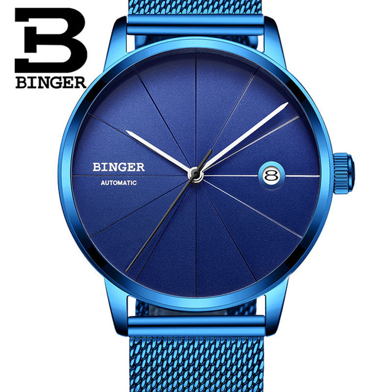 Switzerland BINGER Automatic Mens Watches Top Brand Luxury Men Mechanical Watch relogio masculino Stainless Steel Blue Watch