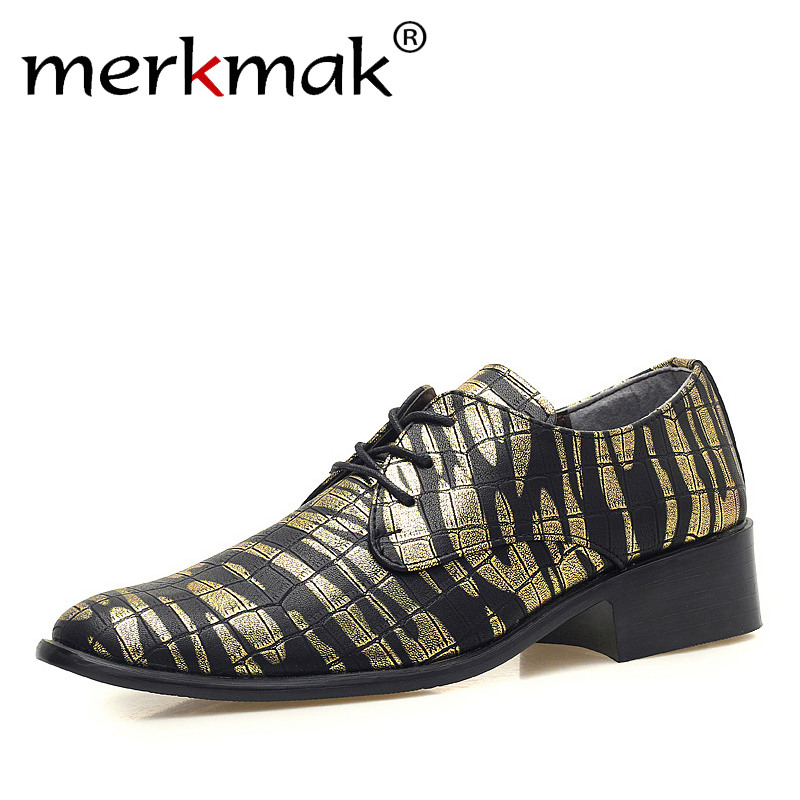 Merkmak Luxury Men Leather Shoes Pointed Toe Dress Shoes Fashion Print Lace Up Flats Casual Oxford Shoes Nightclub Bar Wedding майка print bar панды