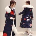 Материнства женщины печати Ватные куртки Мода Одежда Зима Женщины печати Верхняя Одежда С Капюшоном Регулярный Куртка WM06