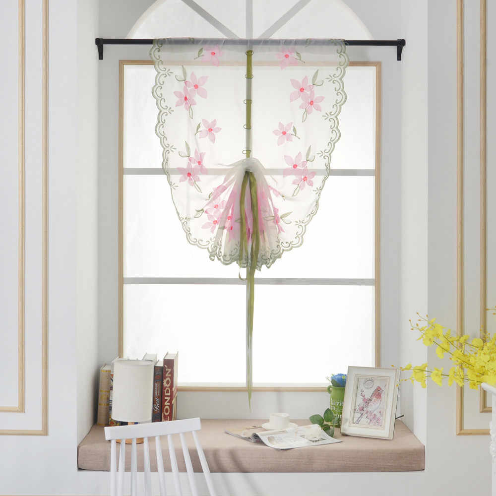 Modern Pink Voile Door Window Curtain Room Sheer Drape Panel Floral Scarf Sheer Valance new