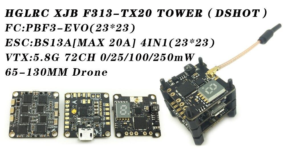 HGLRC XJB F313-TX20 DSHOT contrôle de vol BS28A ESC VTX transmetteur vidéo pour Drones RC