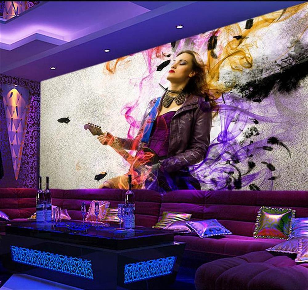 3D Wallpaper Custom Photo Wall Paper Cool Nightclub Guitar Beauty Gril TV Sofa Bedroom KTV Hotel Living Room Children