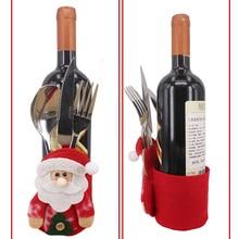80pcs Xmas Decor Snowman Kitchen Tableware Holder Pocket Dinner Cutlery wine Bottle Bag Party Christmas table decoration