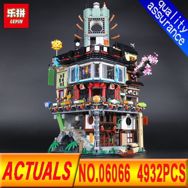 Lepin 06066 4932pcs Ninjago City Masters of Spinjitzu Building 4953pcs Blocks Bricks Toys Compatible LegoIN 70620 Christmas gift lepin 02012 city deepwater exploration vessel 60095 building blocks policeman toys children compatible with lego gift kid sets