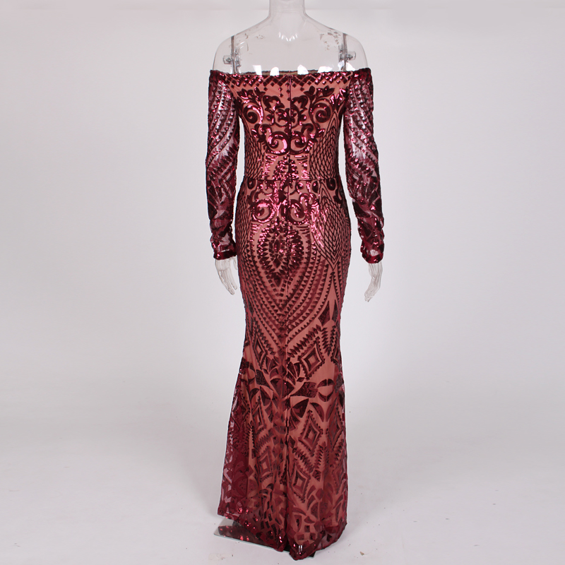 NEW Burgundy Geometric Sequin Party Dress Full Sleeved Off Shoulder Bodycon Maxi Dress Lining Back Zipper Slash Neck Club Dress-in Dresses from Women's Clothing    3