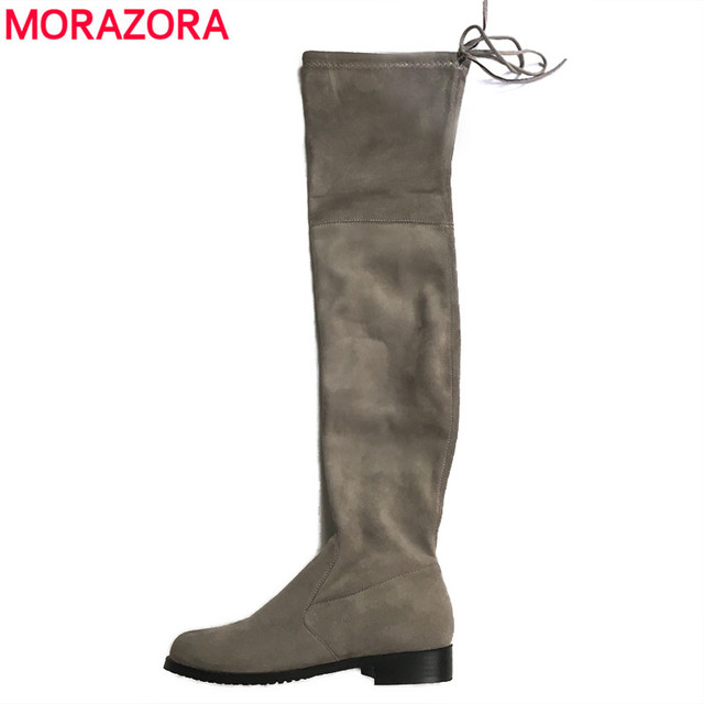 MORAZORA Plus Size 34-43 2018 Novas Mulheres Estiramento Faux Suede Sobre o Joelho Botas Coxa Plana Botas Altas sexy Sapatos Da Moda Mulher