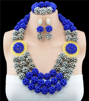 2016 Latest blue silver african beads necklace set nigerian wedding african beads jewelry set Free shipping