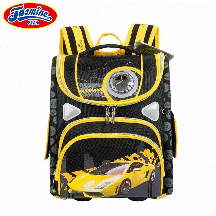 JASMINESTAR Grade 1 3 5 Boys Backpack School Bag Cartoon Race Car Orthopedic Backpack Student Kids