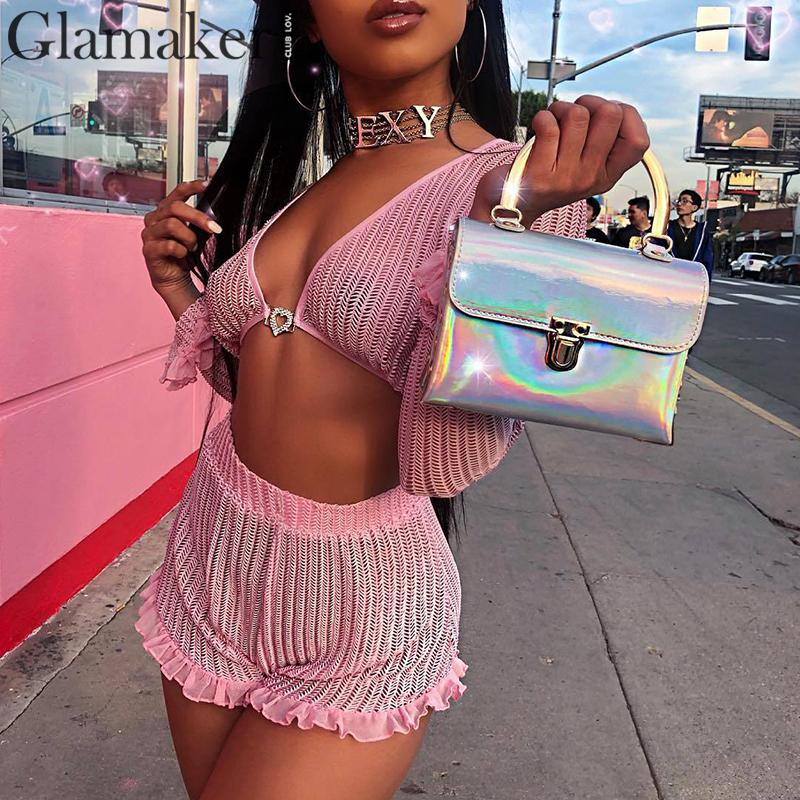 Glamaker sexy long sleeve ruffles playsuit Summer pink v-neck streetwear romper overalls Women sexy two-piece short   jumpsuit