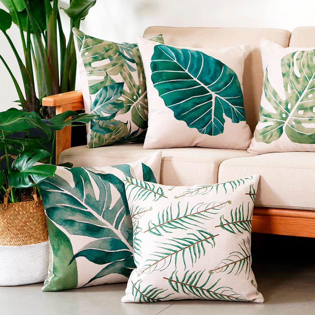45x45cm Simple Car Home Decor Pillow Case Tropical Plants Green Leaves Cushion Sofa Cover Throw Pillow in Cushion Cover from Home Garden