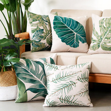 Tropical Rainforest Plant Polyester Sofa Cushion Cover Leaf Car Home Decoration Pillow Case Chair Pillow Cover недорого