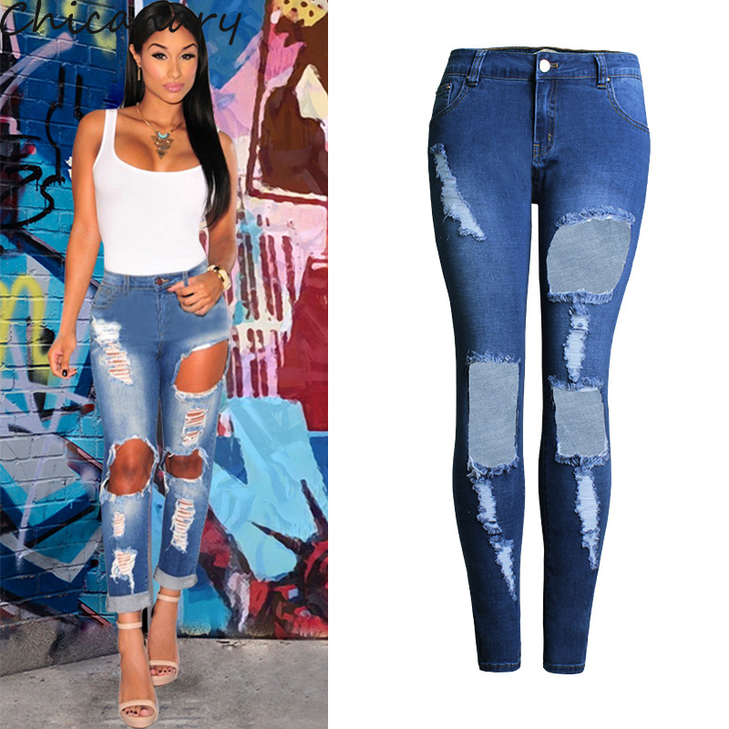 Chicanary Mid Rise Open Leg Ripped Skinny Jeans Women Blue Denim Pants Plus Size