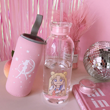Cartoon Bottle Transparent Glass Water Student Camping with Portable Leak-proof Fruit Lemon Juice Drinking