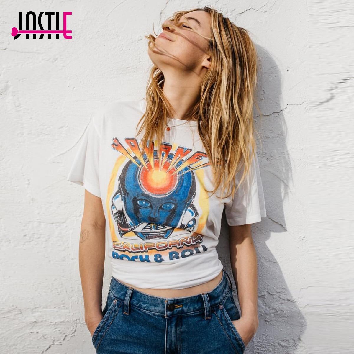 ebdc92b26967 Jastie O-Neck Short Sleeve Tee Casual Women Shirt Tops Rock N Roll Pattern  Print