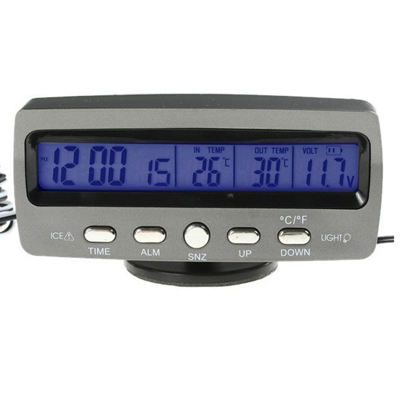 Newest LCD Indoor/Outdoor Car digital Thermometer Temperature Alarm clock Time Date Hour Automotive Voltage detector meter 3 in1 digital car thermometer voltmeter auto indoor outdoor temperature voltage meter alarm clock blue orange backlight 40%off