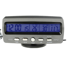 Promo offer Newest LCD Indoor/Outdoor Car digital Thermometer Temperature Alarm clock Time Date Hour Automotive Voltage detector meter