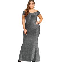 Plus Size Dress women Off The Shoulder Maxi Party Dress Vintage short sleeve Floor-Length dress big size Robe Femme