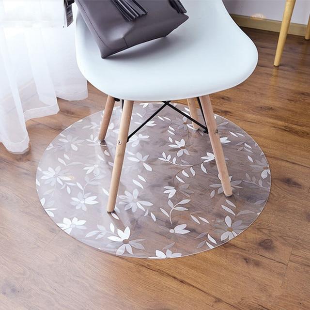 swivel chair on carpet fishing accessories for sale round bedroom office mat floor protection pvc plastic non slip wooden doormat waterproof rug