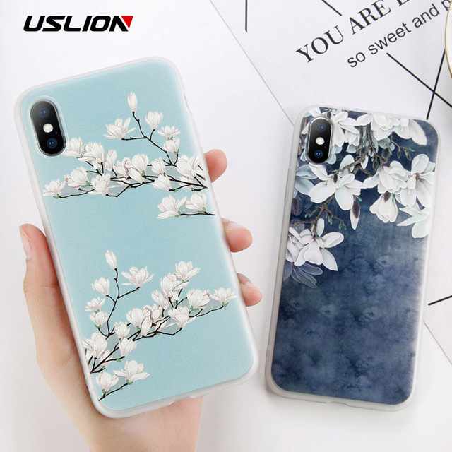 check out 91c8f 27ea4 US $1.39 20% OFF|USLION Matte TPU Flower Phone Case For iPhone X 8 Plus  Magnolia Floral Back Cover For iPhone 7 6 6S Plus Soft Silicone Cases-in ...