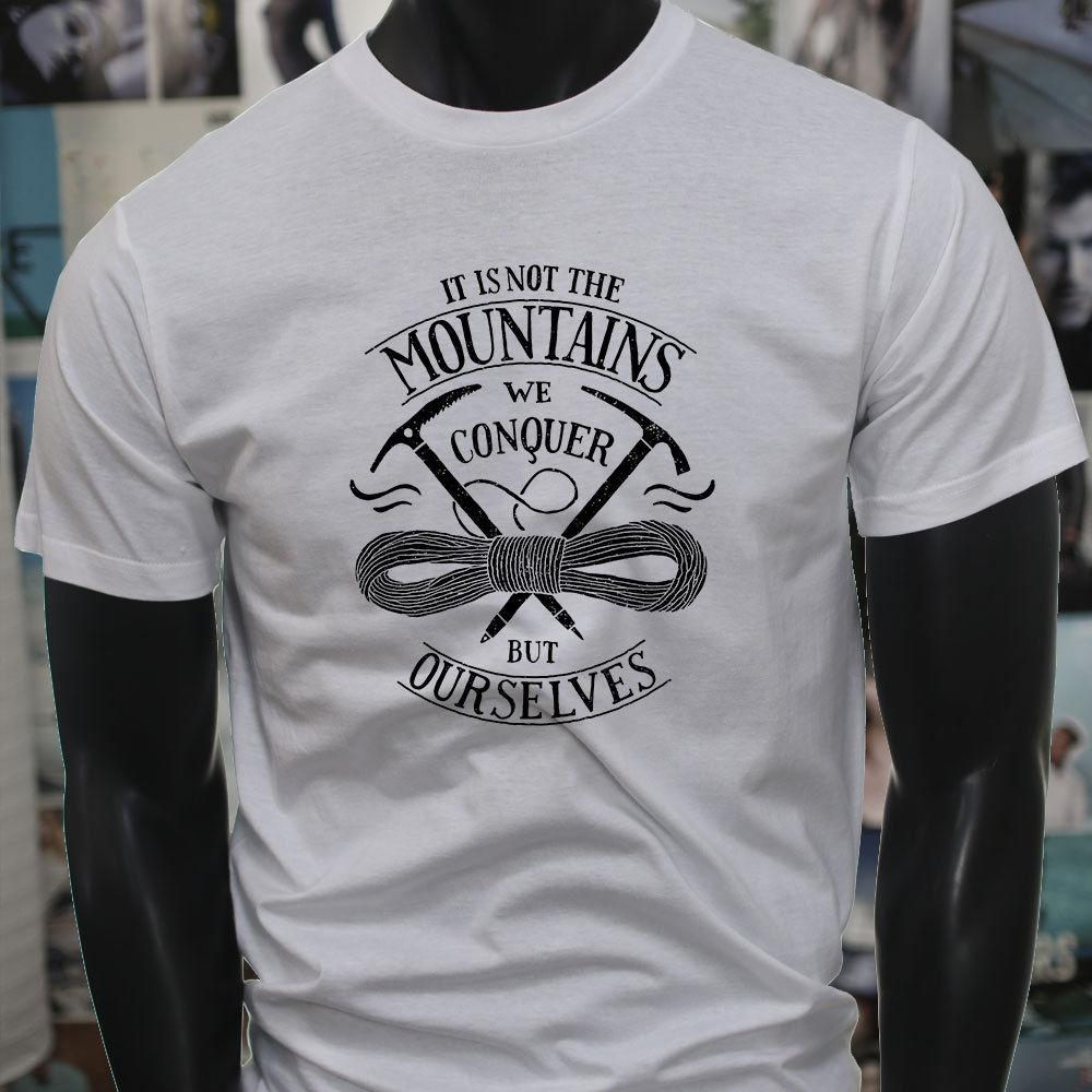 2018 Новый Повседневное крутая футболка победить себя Приключения горы Путешествия Поход мужская серая футболка Лидер продаж футболка