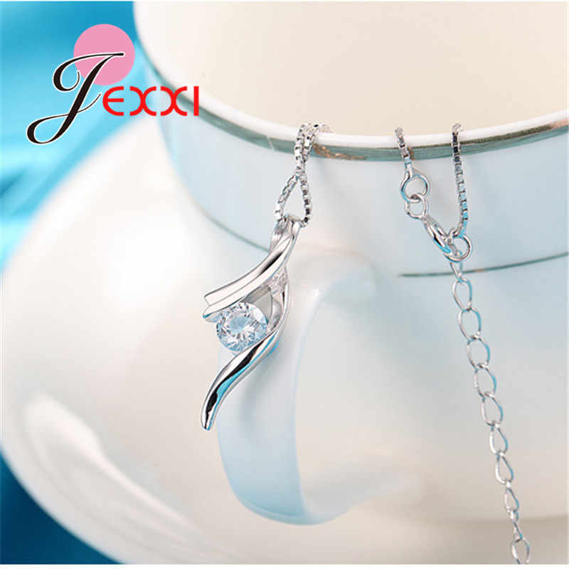 Echtes 925 Sterling Silber NEUE Modische Design Anhänger Halskette CZ Hochzeit Schmuck Hübsche Kette Für Frauen/Grils