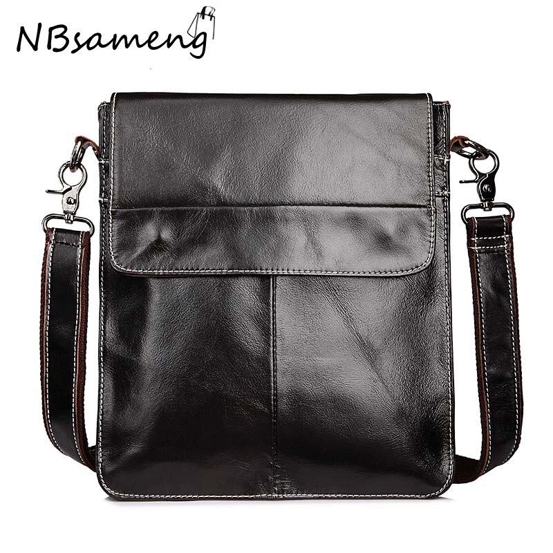 ФОТО New Fashion 2016 Mens Genuine Cowhide Leather Messenger Bags Vintage High Quality Crossbody Bags Bolsa Feminina smb751