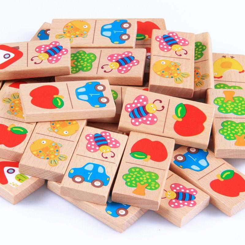 Free shipping kids 28PCS domino blocks toy Fruit/animal/car/house etc, Baby Educational Cartoon animal Connect wood domino toy