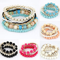 Women Handmade 2016 Style Beaded Bracelet Bohemia Stretch Multilayer Flower Charm Bangle Elastic Gift