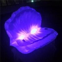 Гигантский со светодиодной подсветкой ракушками надувные водные плавающей строки многоцветный сверкающих жемчугом гребешок Аква шезлонг