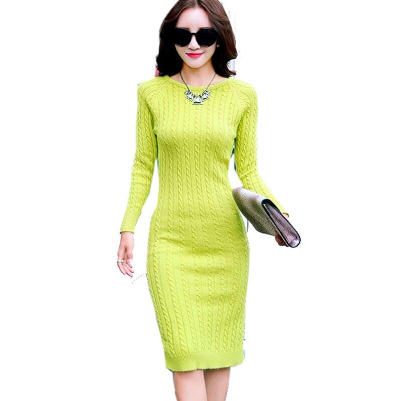 Women Fluorescent Green Long Sweater Dress 2017 Winter O-Neck Slim Bodycon Dresses Knee-length Knitted Dress Vestidos  48 цена