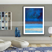 100%Handmade Abstract Pictures Blue Landscape Paint on Canvas Blue Ocean Sea Hand Painted Unique Wall Art Seascape Wall Decor