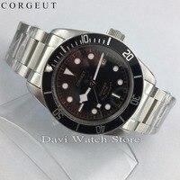 Nieuwe Corgeut 41mm Rvs Case Black Bezel Saffierglas Automatische Heren Horloges