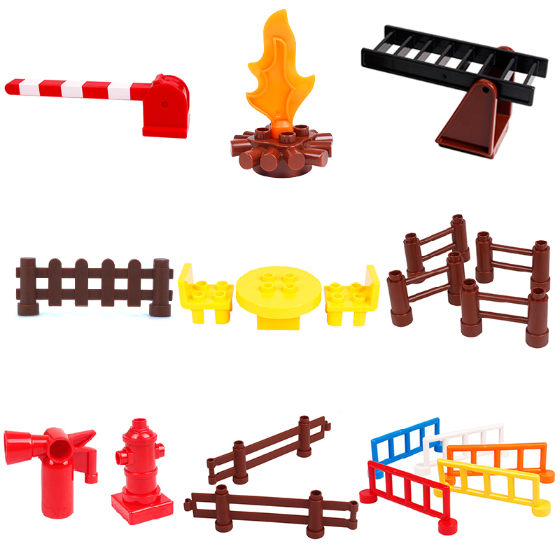 Big Building Blocks Ladder Tables chairs Fence Bricks firefighting Accessory Kids DIY Toys Compatible with Duplo city sets gift forest park plant tree leaf model big particles building blocks toys set bricks diy accessory child gift compatible with duplo