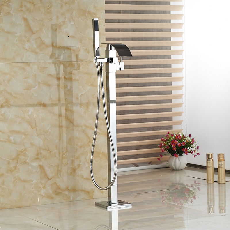 Hot new Floor Mounted Waterfall Bathtub font b Faucet b font with Hand shower Tub Mixer