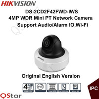 HIKVISION Original 4MP WDR Mini PT Network Camera DS 2CD2F42FWD IWS 1080P POE IPC Bulid In