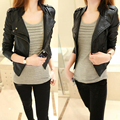 2017 New Fashion Autumn Winter Women Brand Faux Soft Leather Jackets Pu Black Zippers Long Sleeve Motorcycle Coat