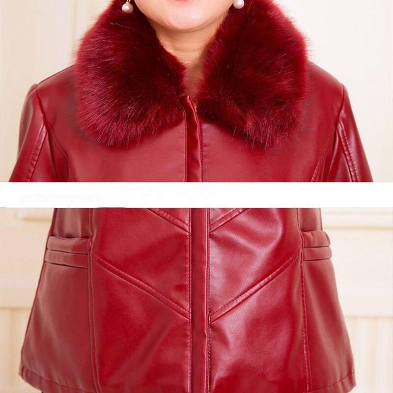 Veste Black Ac131 Fourrure Pu Amples Cuero Femmes Taille Vintage En Col Mujer Cuir Manteau 6xl La Faux Vêtements red Plus Rouge De Maman Femelle Chamarra qABgnBE8d