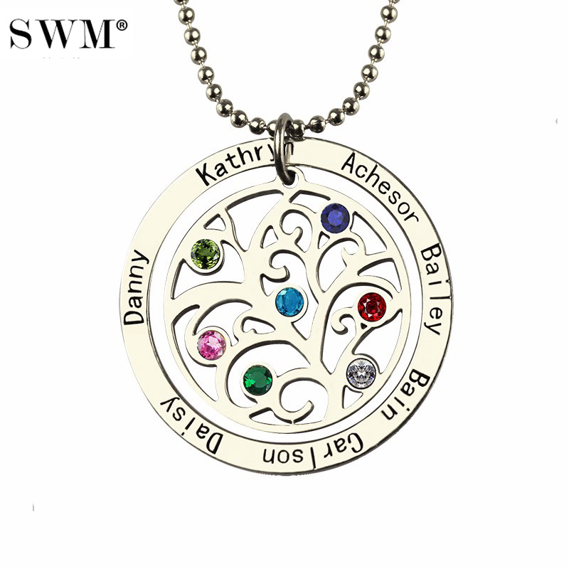 Women Silver Necklace Custom Name Engraved Stone Necklaces Vintage Jewelry Chain Family Tree of Life Pendant