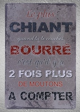 1 pc french Quotes life drank counting sheeps Tin Plate Sign wall plaques house Decoration Dropshipping metal Poster