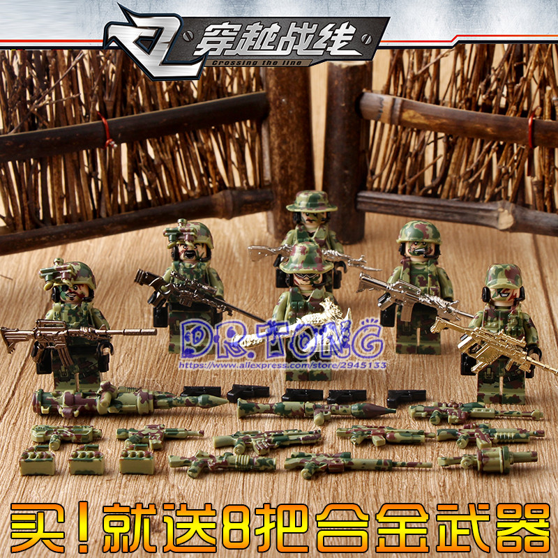 DR.TONG 60PCS/LOT Military Falcon Commandos Police Soldiers With Alloy Weapons SY11101 Building Blocks Toys Children Gifts цена 2017