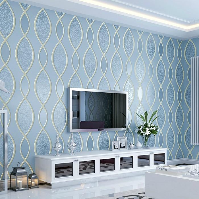 Бесплатная доставка Нетканые обои современный минималистский ТВ стены Континентальный 3D полосы тиснением обои декор гостиной