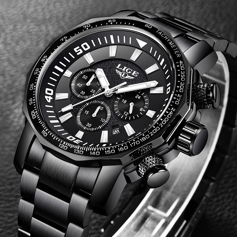 Relojes Hombre LIGE Mens Watches Top Brand Luxury 24 hour Date Business Quartz Watch Men Full