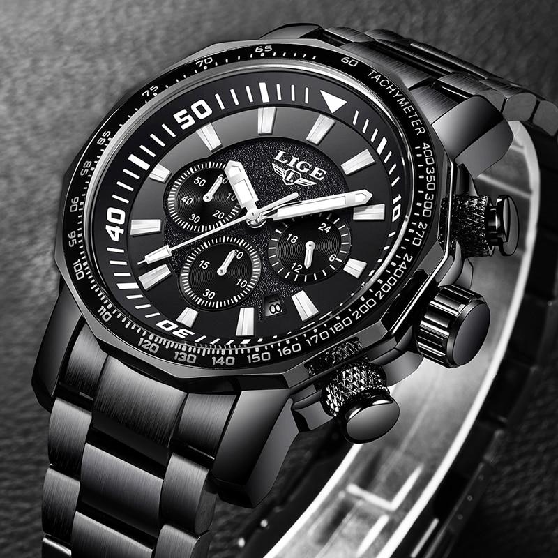 все цены на Relojes Hombre LIGE Mens Watches Top Brand Luxury 24 hour Date Business Quartz Watch Men Full Steel Big Dail Waterproof Clock