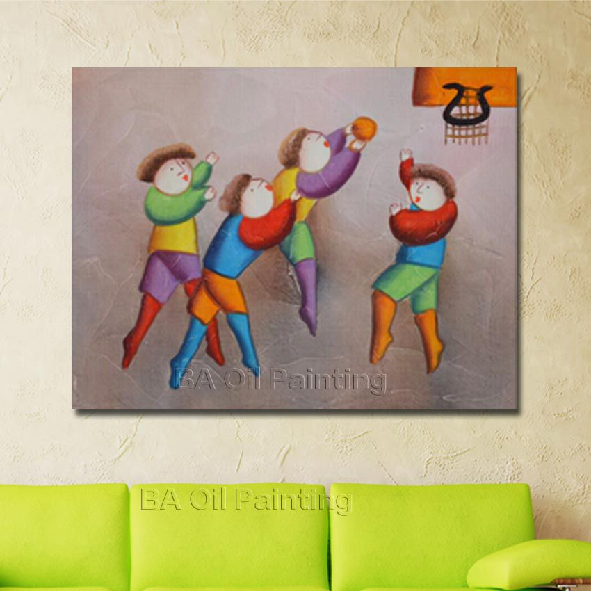 100 Handmade Famous High Quality Cartoon Oil Painting Children Playing Together Hang Picture For Home Decor Nice Gifrs No Frame In Calligraphy