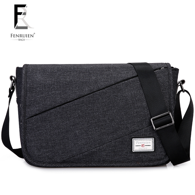 Fenruien Compact Single Shoulder Bags For Men Casual Canvas Crossbody Male Messenger Bag Travel