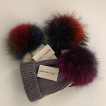 Casual  Real Fox Fur Mink Pompoms 15cm Skullies Beanies Hats For Women Girl Winter Wool Warm Skullies Beanies Hats 2019 New Caps цены онлайн