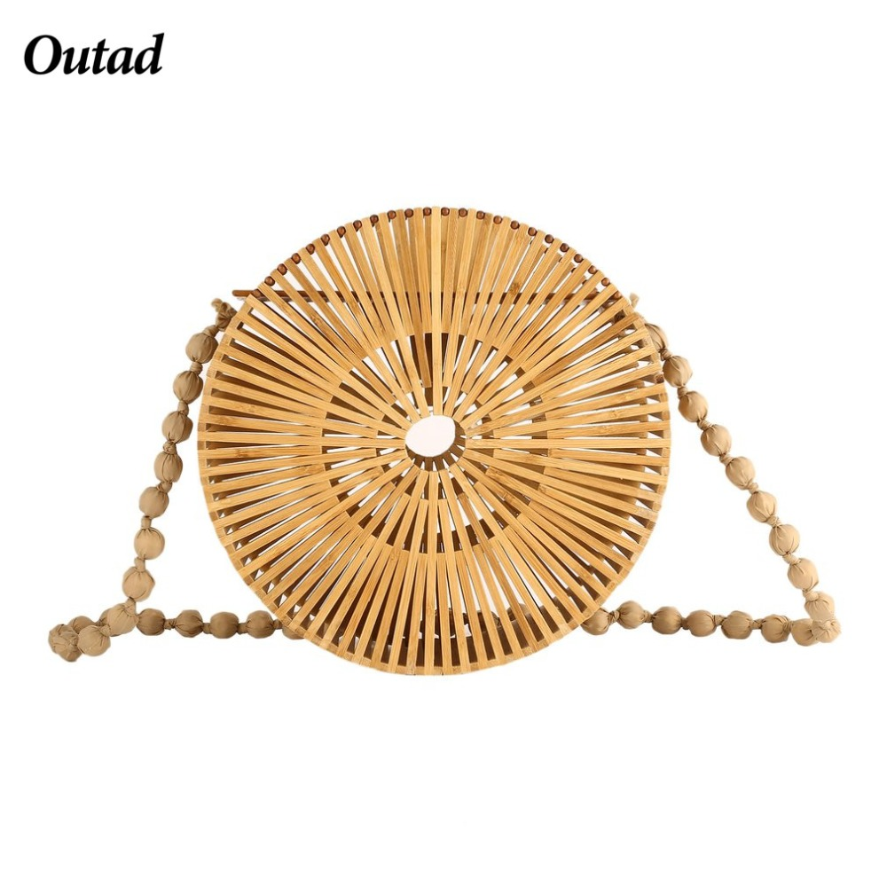 OUTAD 2018 Summer Handmade Hollow Out Woven Bamboo Bag Beach Straw Shoulder Bags For Women beach straw bags women appliques beach bag snakeskin handbags summer 2017 vintage python pattern crossbody bag