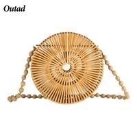 OUTAD Women Handbag Hot Wicker Bag Hollow Out Woven Bamboo Bag Beach Straw Shoulder Bags For