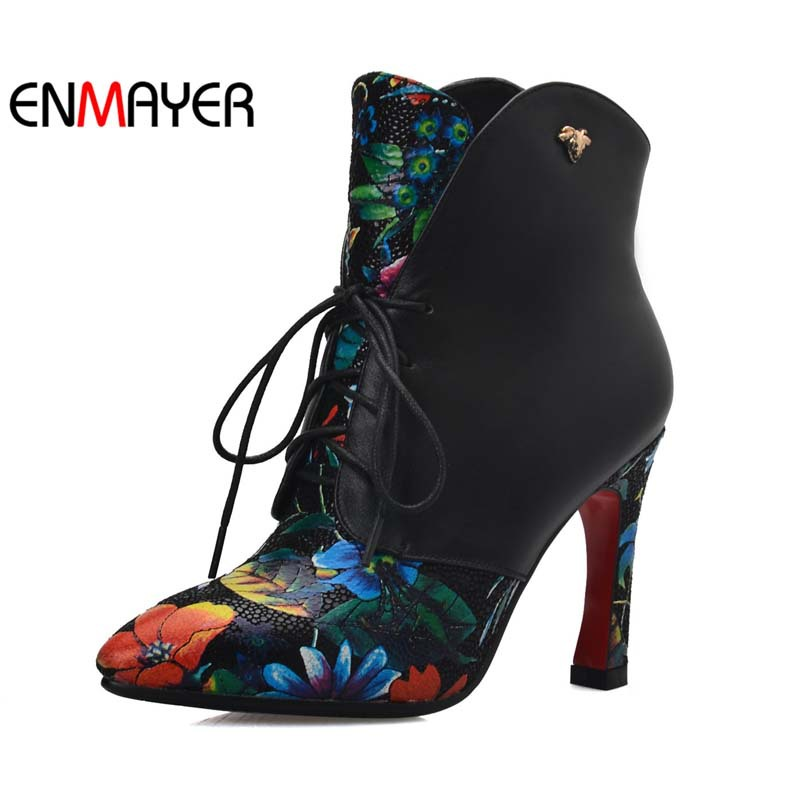 ФОТО ENMAYER Print Women Martin Boots Pointed Toe Square Heel Boots Ankle Platform Pumps Zipper Shoes Women The Chinese style Boots